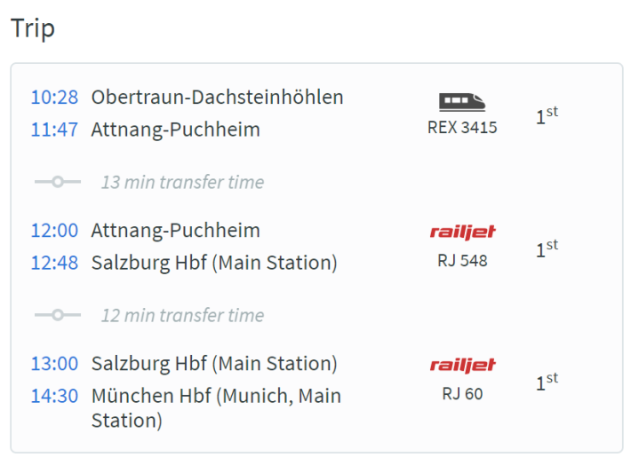 OBE - MUC Rail List Actual Timing and Train Number