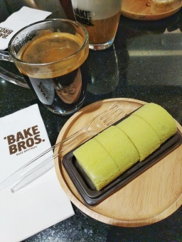 Bake Brothers cafe in Terminal 21 Bangkok, seen with pandan swiss roll and Americano