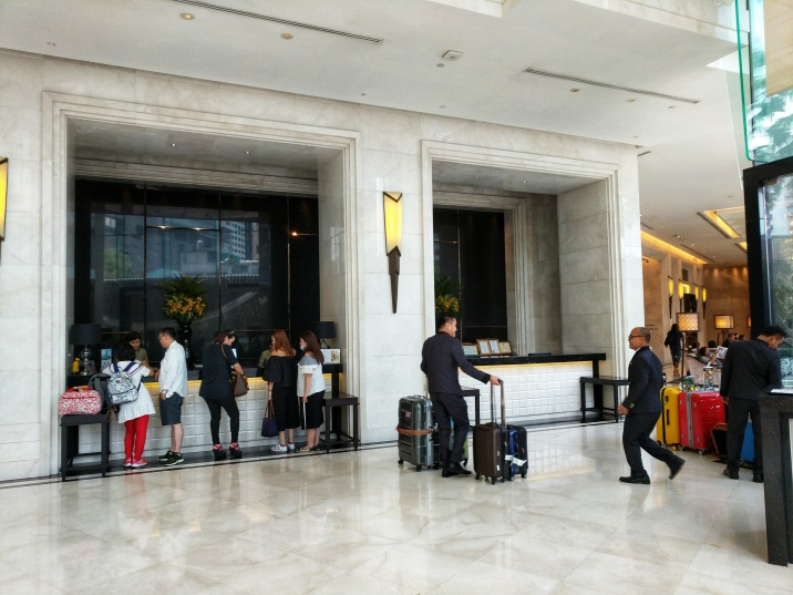 Terminal 21 Hotel Grande Centre Point lobby reception at Bangkok Thailand